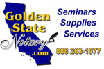 Golden State Notary, Seminars, supplies, Services, how to become a notary, find a notary, forums, notary public, notary public networks, Sergio Musetti Cotati Notary,